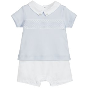 Laranjinha Little boys baby blue and white collard romper with smocking across the front.