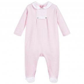 Laranjinha little girls pink babygrow with smocking detail to the front