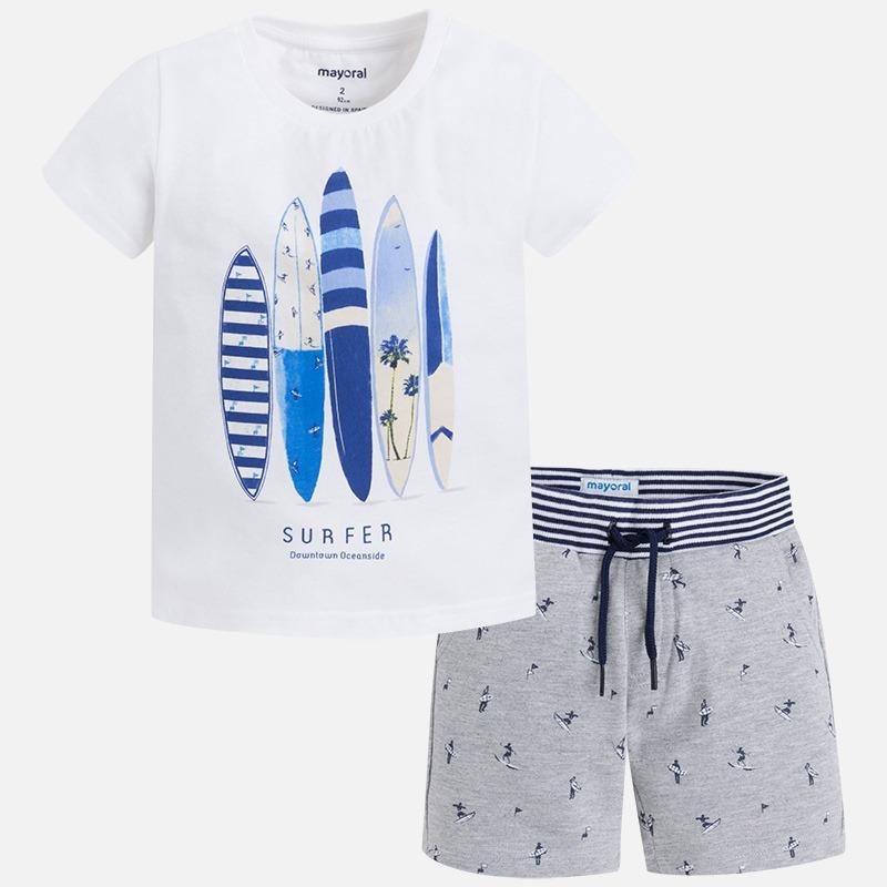 Clothing Set For Boys Toddler Short Sleeve Shirt Elastic Waist Short With String