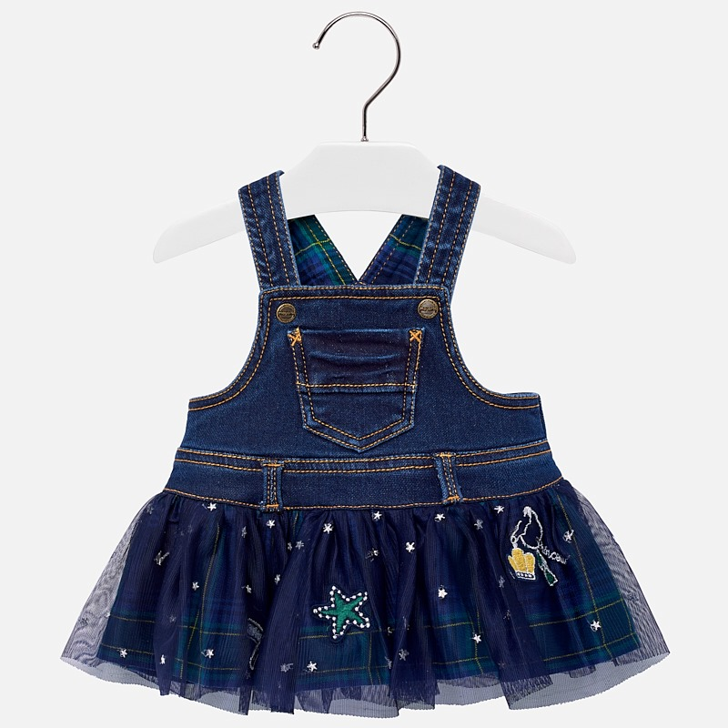 fc66a21d200d Mayoral baby girls green and blue pinafore dress. The top half is made in  soft