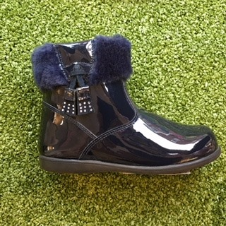 Navy Blue Patent Leather Girls Boots-172844