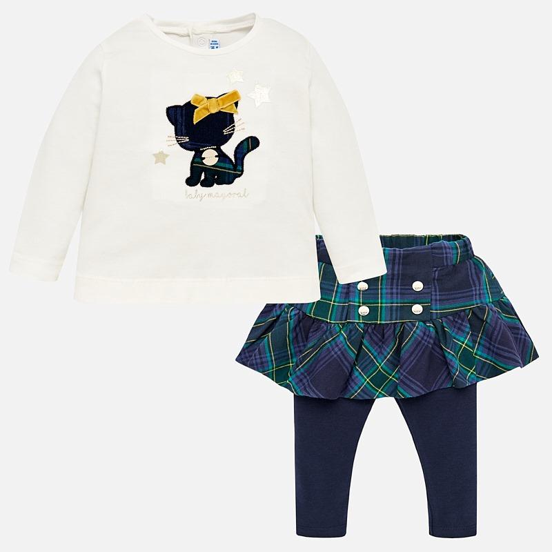 Cute navy and green tartan skirt set. The frilled tartan skirt has sewn in  navy 5aa9e774d