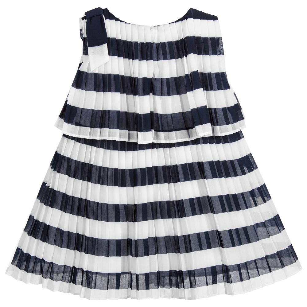 e933474270f3 Girls white and navy blue striped dress from Mayoral made in soft pleated  chiffon. It