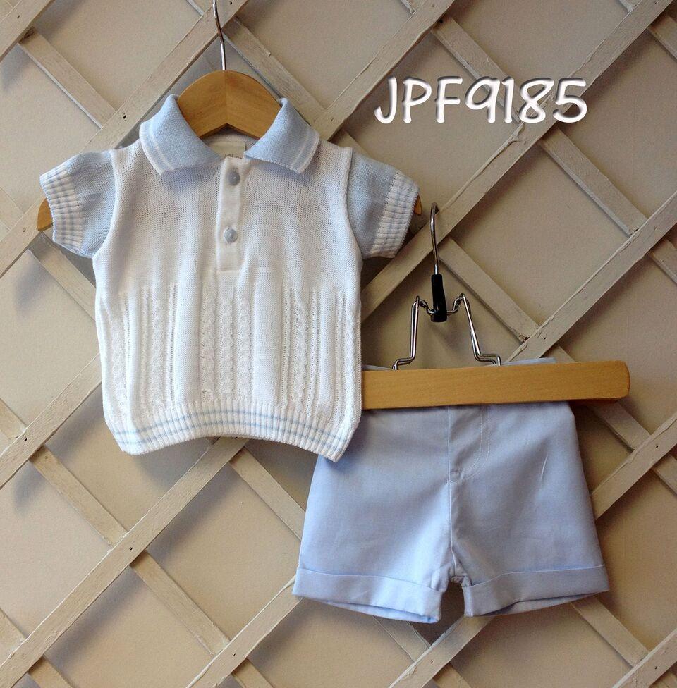 2b742ae74 Pretty Originals little boys 2 piece shorts set 100% cotton pale blue &  white